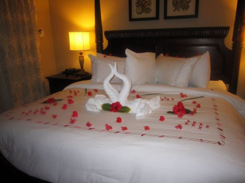Our butlers often left flower petals and towel designs on our bed!