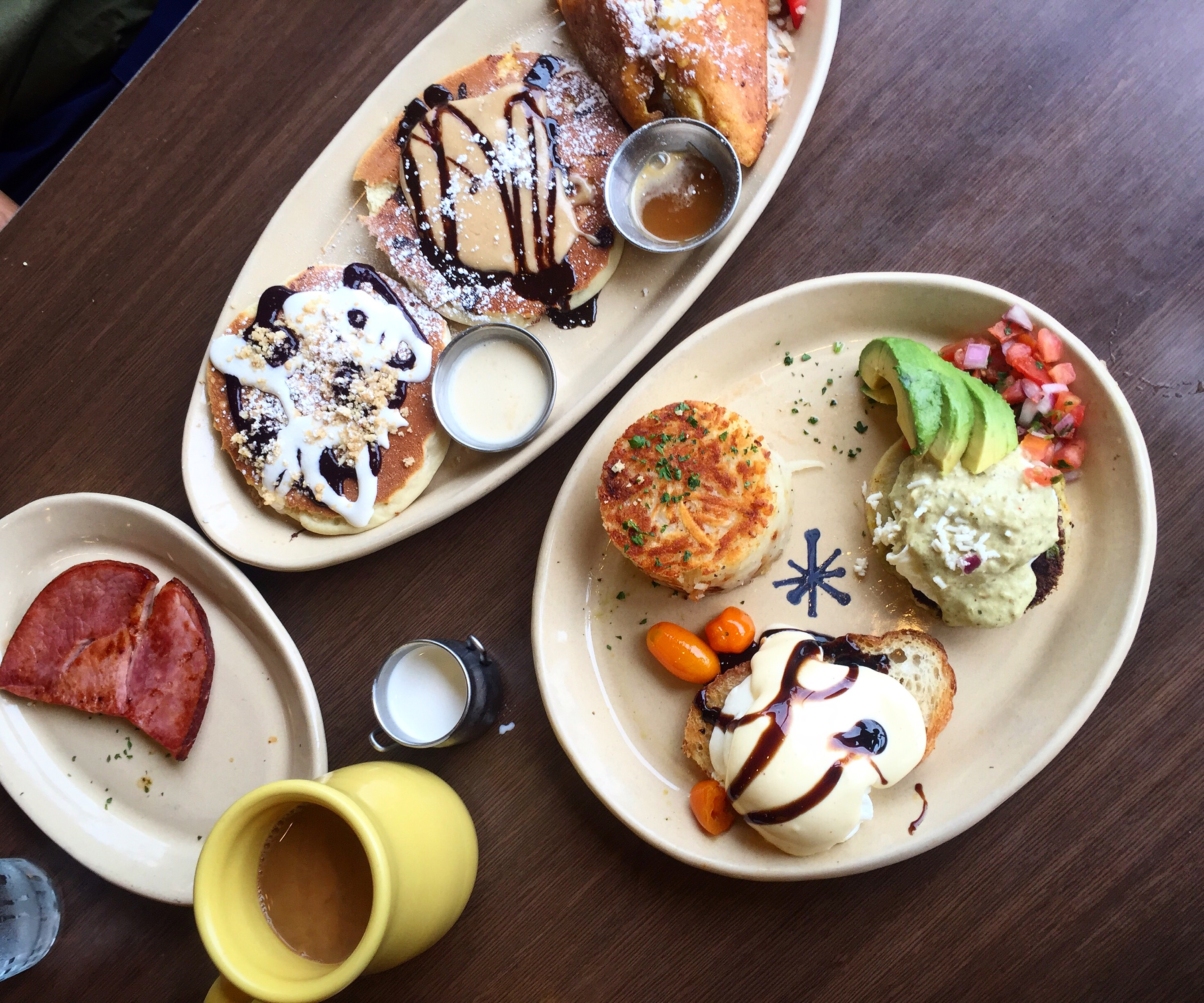 Pancake flight and eggs Benedict from Snooze in Denver (unique things to do in Denver this weekend)